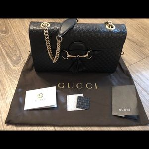 Gucci Emily Guccissima Black Leather Bag